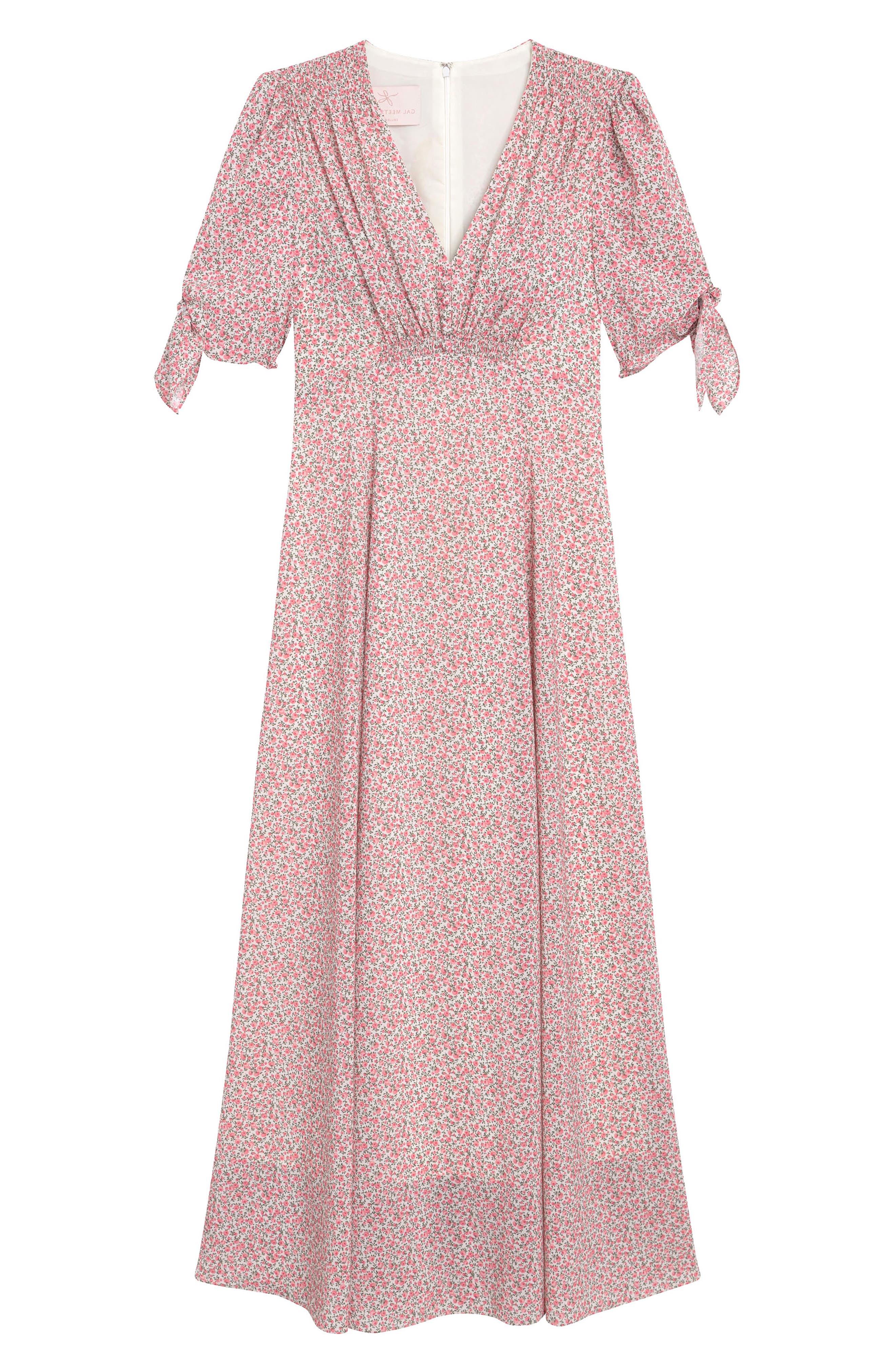 ,                             Ditsy Floral Print Maxi Dress,                             Alternate thumbnail 5, color,                             PORCELIAN/ PEACH WHISPER