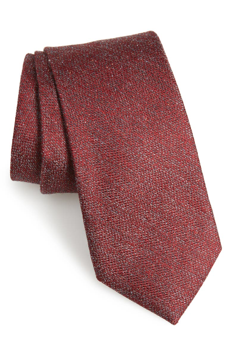 CALIBRATE Fayette Solid Silk Blend Tie, Main, color, RED