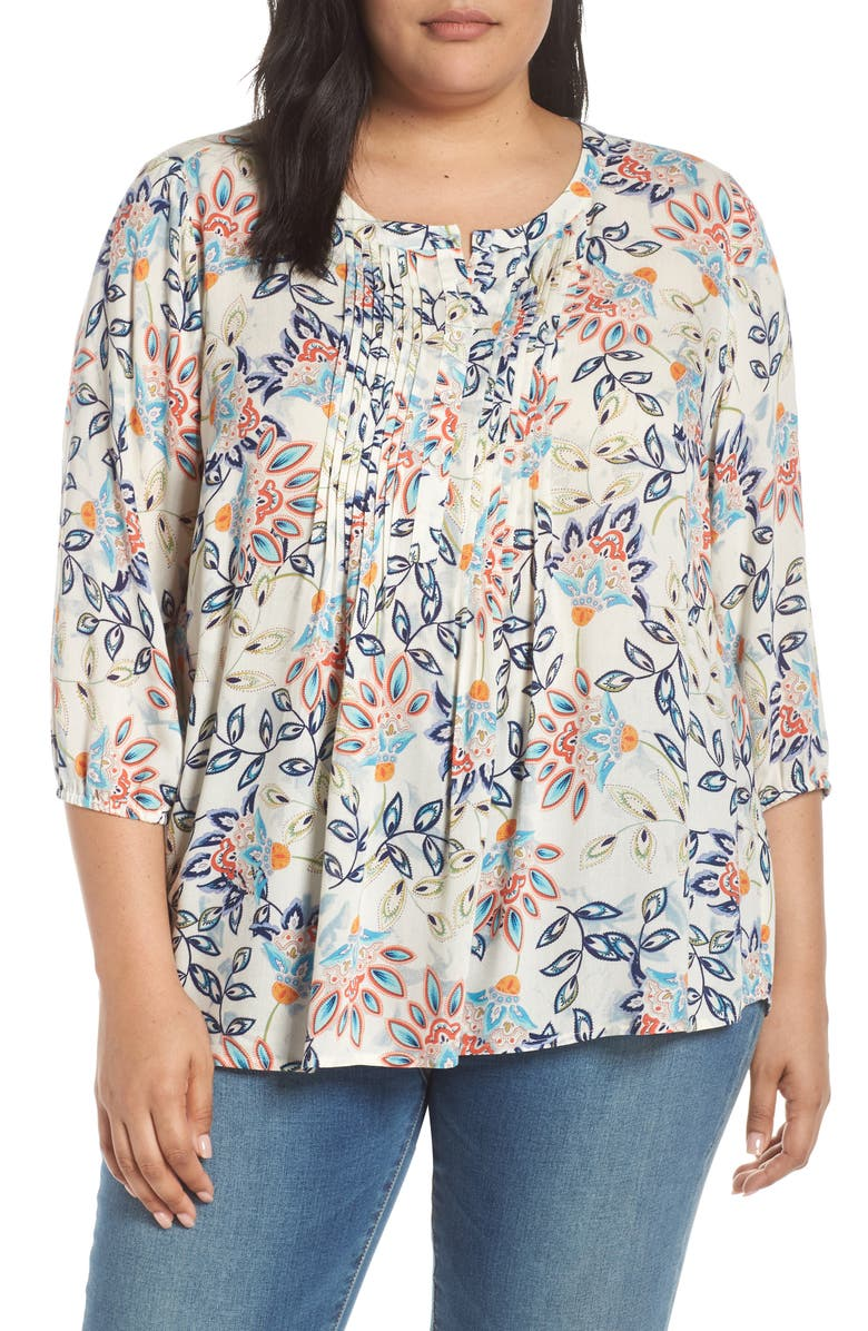 DANIEL RAINN Pintuck Floral Top, Main, color, IVORY