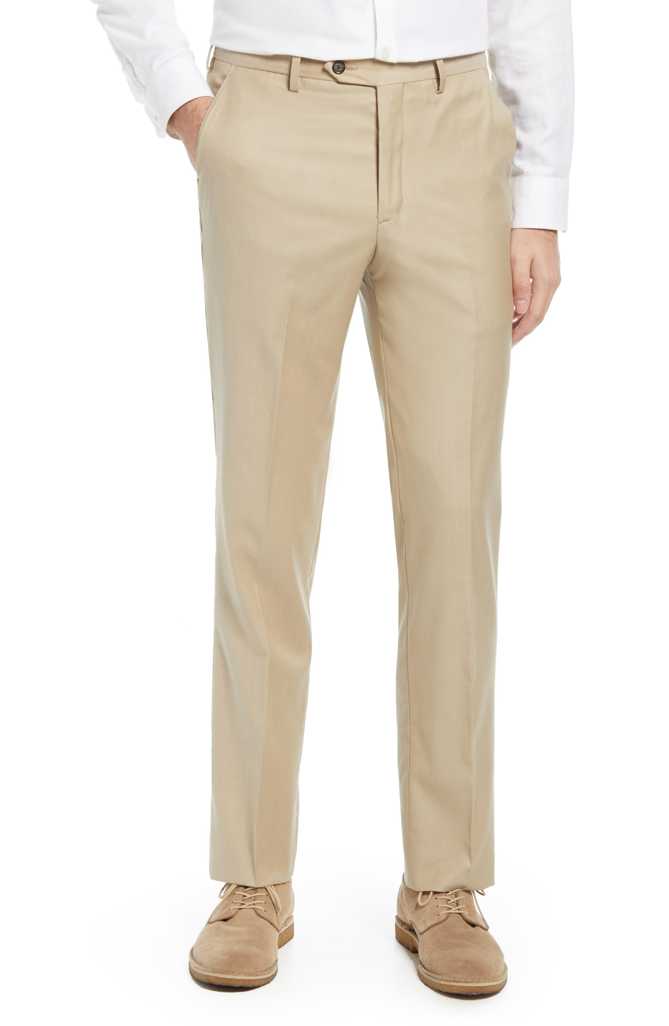 Flat Front Stretch Wool Twill Dress Pants
