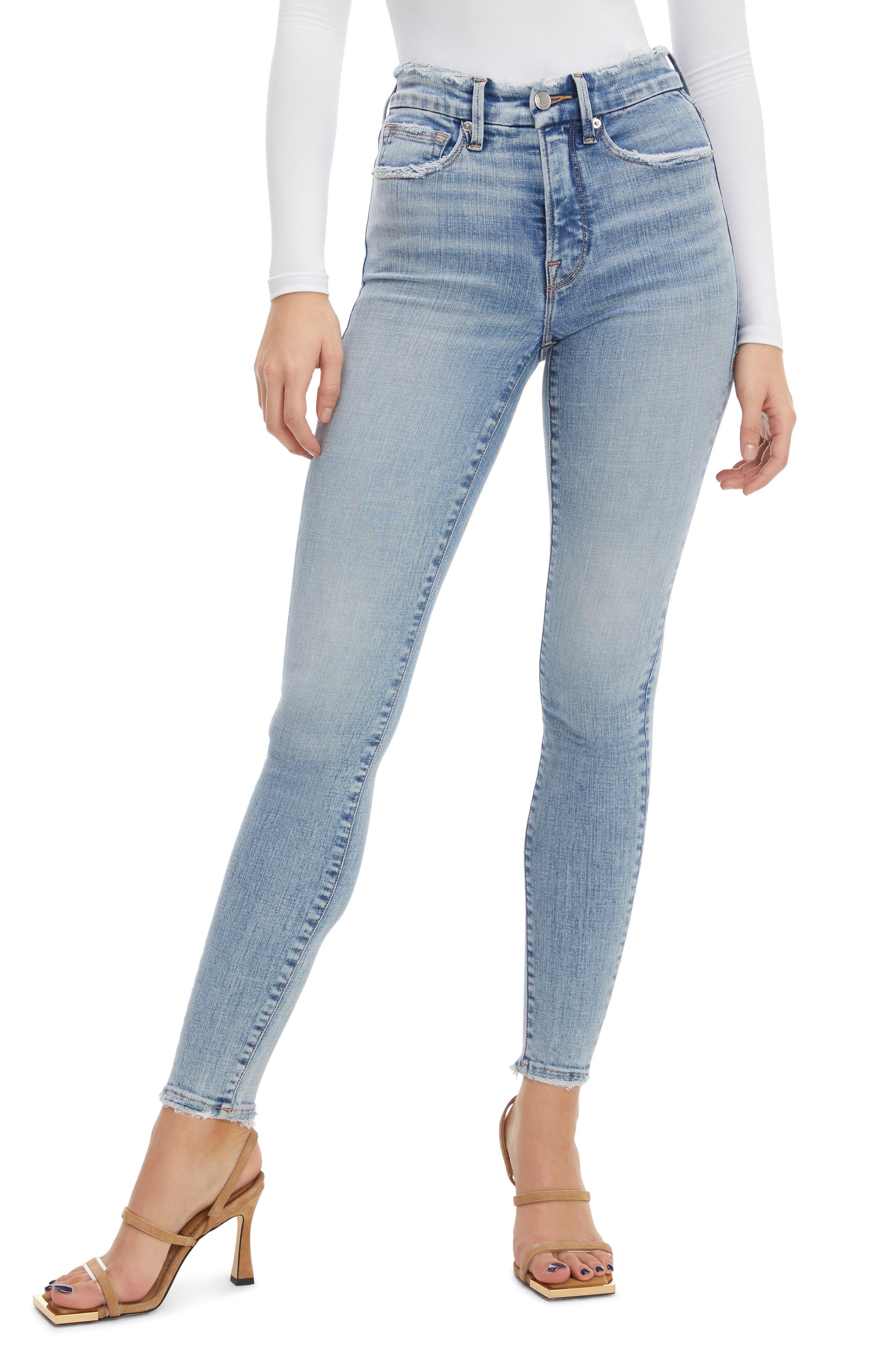 Women's Good American Good Legs Destroyed Hem Ankle Skinny Jeans
