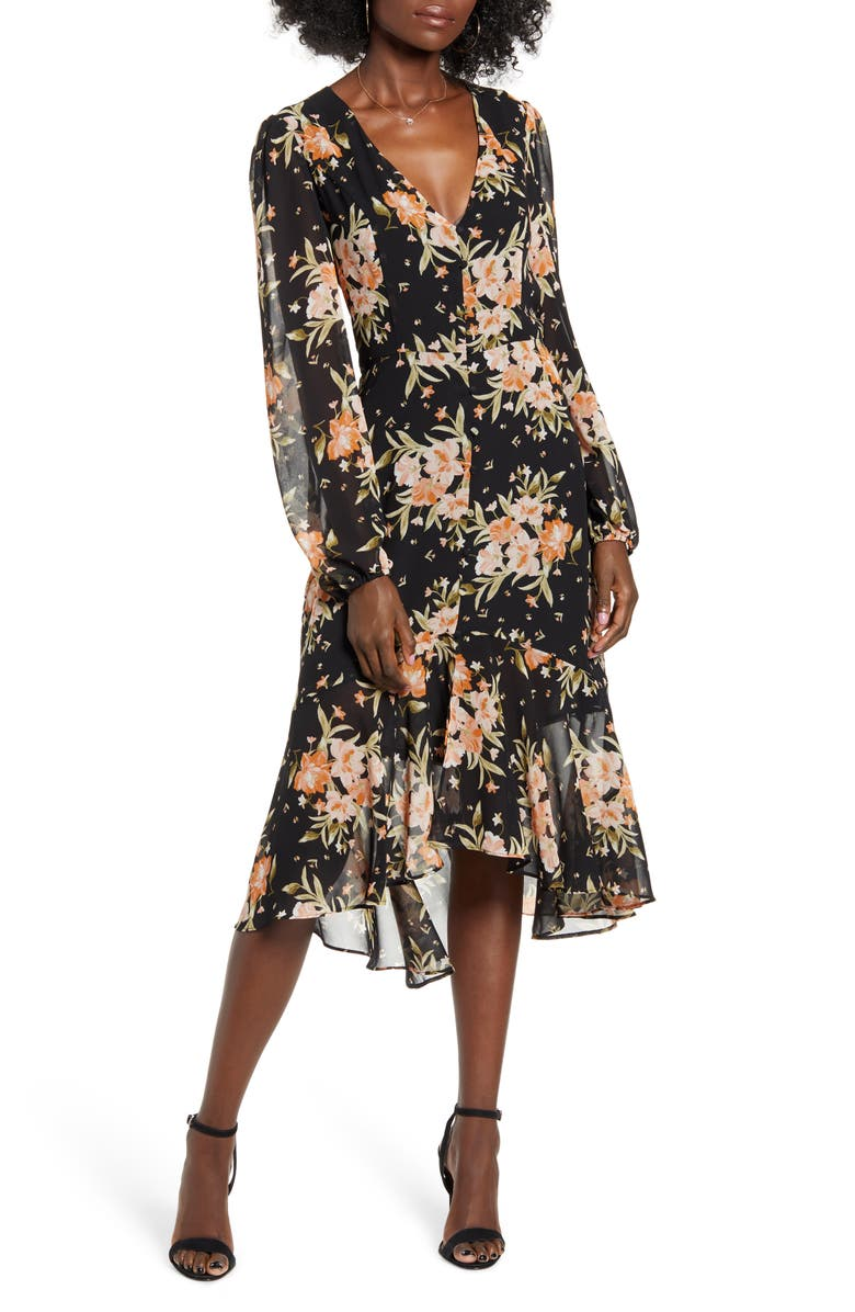 LEITH Button Front Midi Dress, Main, color, BLACK BLUSHING FLORAL
