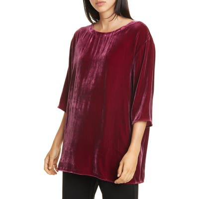 Eileen Fisher Ballet Neck Boxy Top, Red