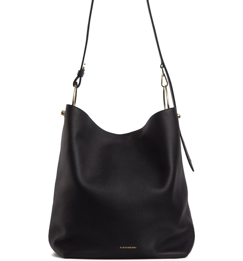 STRATHBERRY Medium Lana Leather Bucket Bag, Main, color, BLACK