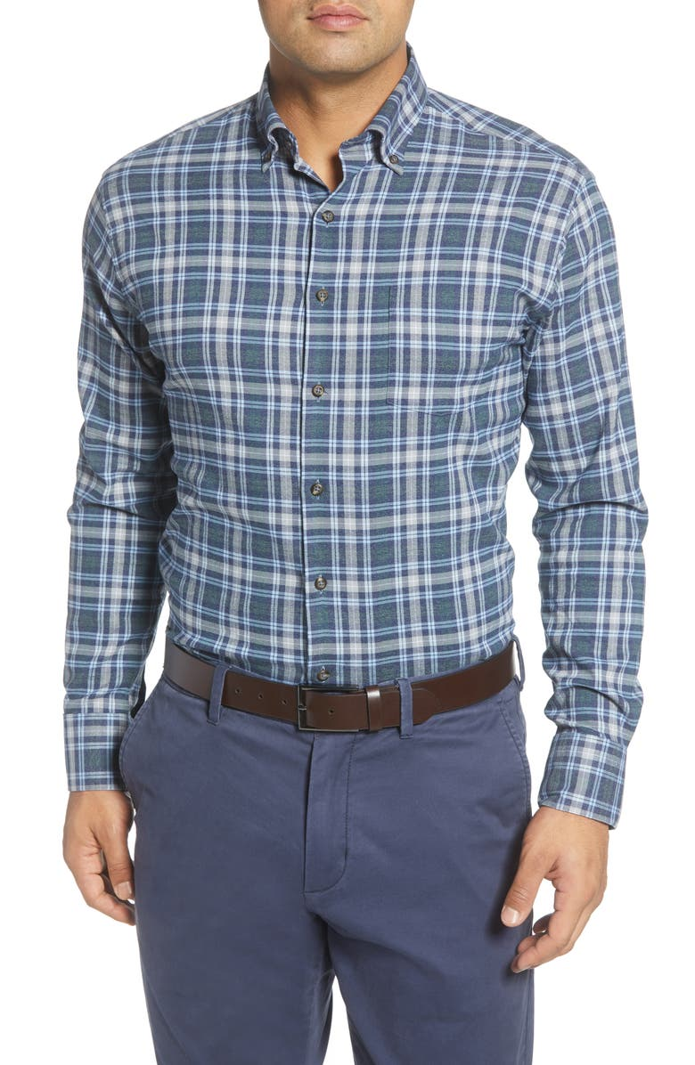 PETER MILLAR Douglas Regular Fit Check Performance Flannel Button-Down Shirt, Main, color, LACINATO