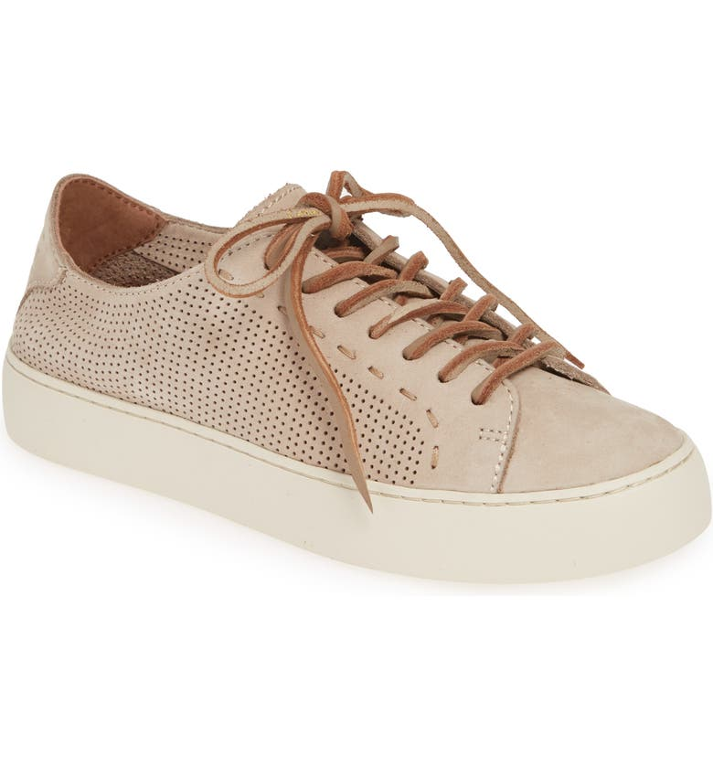 FRYE Lena Perforated Sneaker, Main, color, TAUPE NUBUCK LEATHER