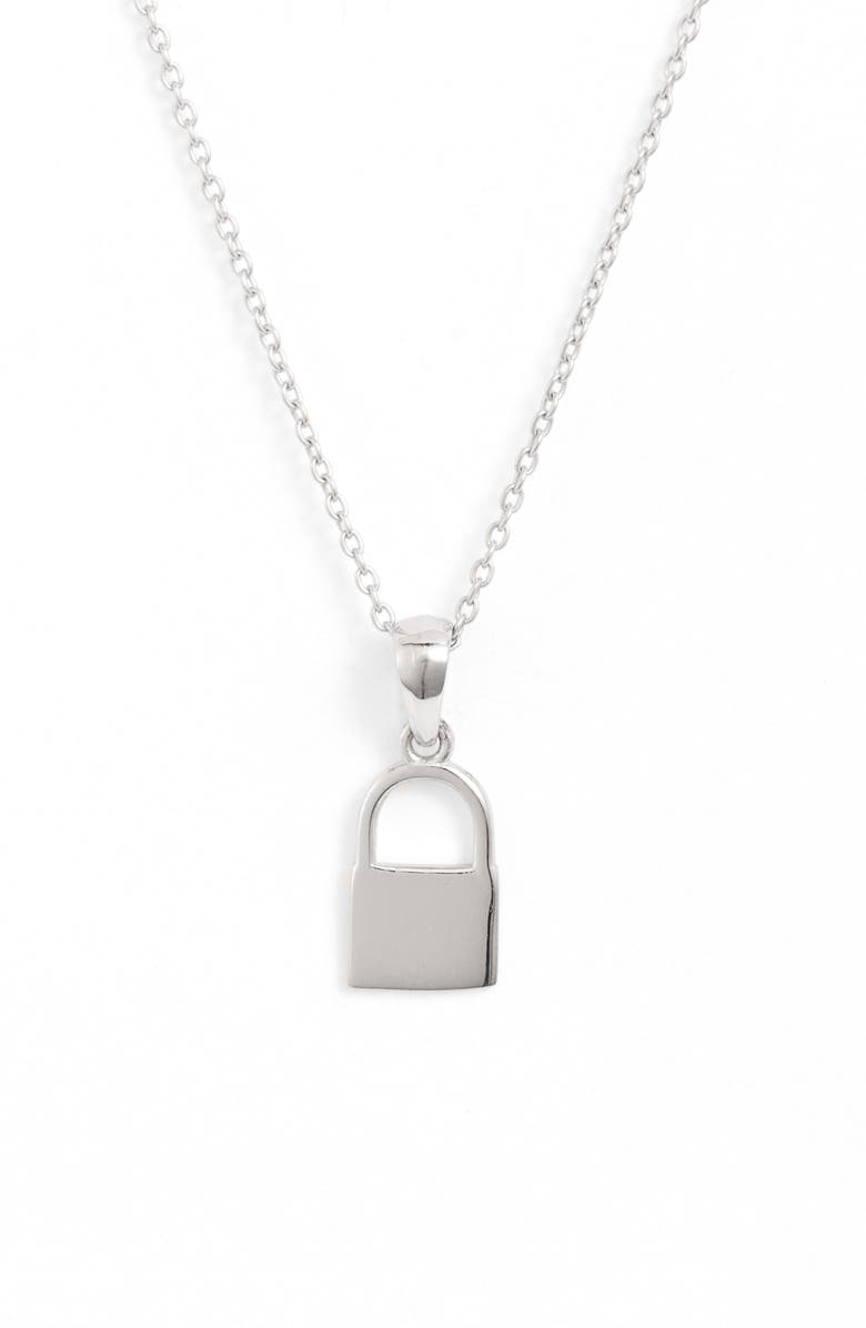 ADINA'S JEWELS Adina's Jewels Mini Lock Pendant Necklace, Main, color, SILVER