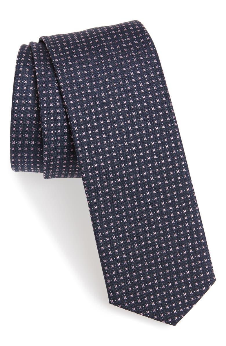 BOSS Geometric Silk Skinny Tie, Main, color, 533