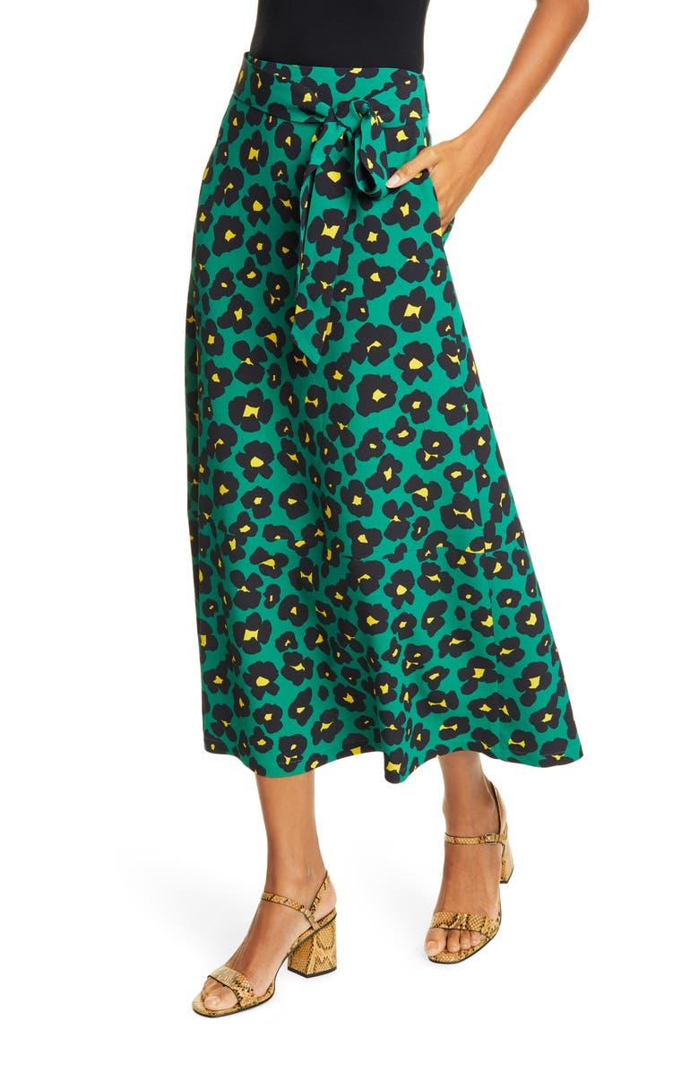 LA DOUBLEJ Leopard Floral Print Midi Skirt, Main, color, FLOWER LEOPARD VERDE