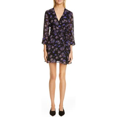Ganni Floral Print Georgette Wrap Dress, Black