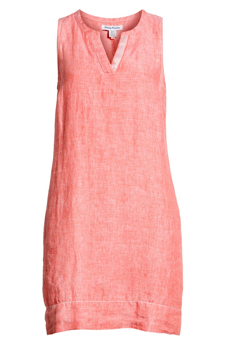 Sea Glass Linen Shift Dress, Alternate, color, DUBARRY CORAL