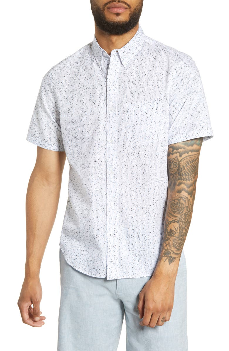 CLUB MONACO Slim Fit Textured Dots Short Sleeve Button-Down Shirt, Main, color, WHITE MULTI