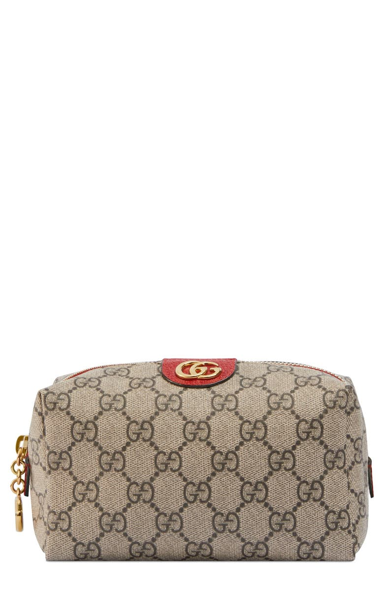 GUCCI Small Ophidia Canvas Cosmetics Pouch, Main, color, 257