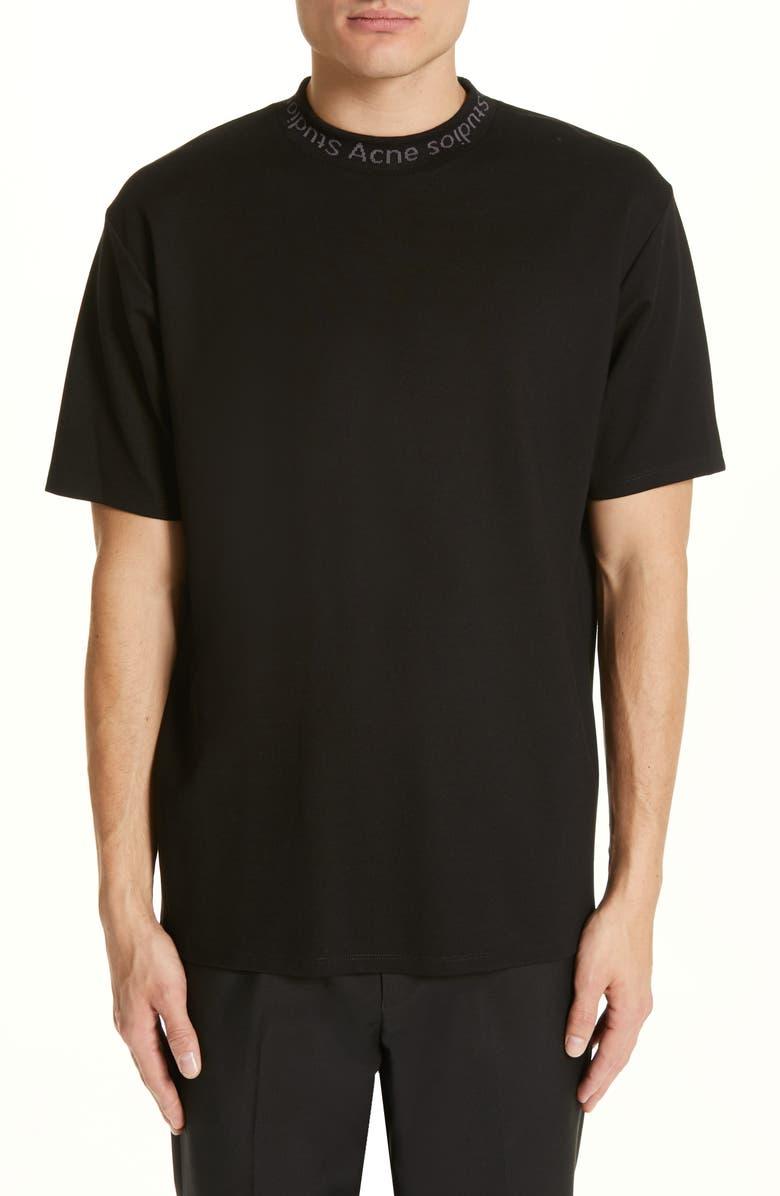 ACNE STUDIOS Navid Logo Collar T-Shirt, Main, color, BLACK