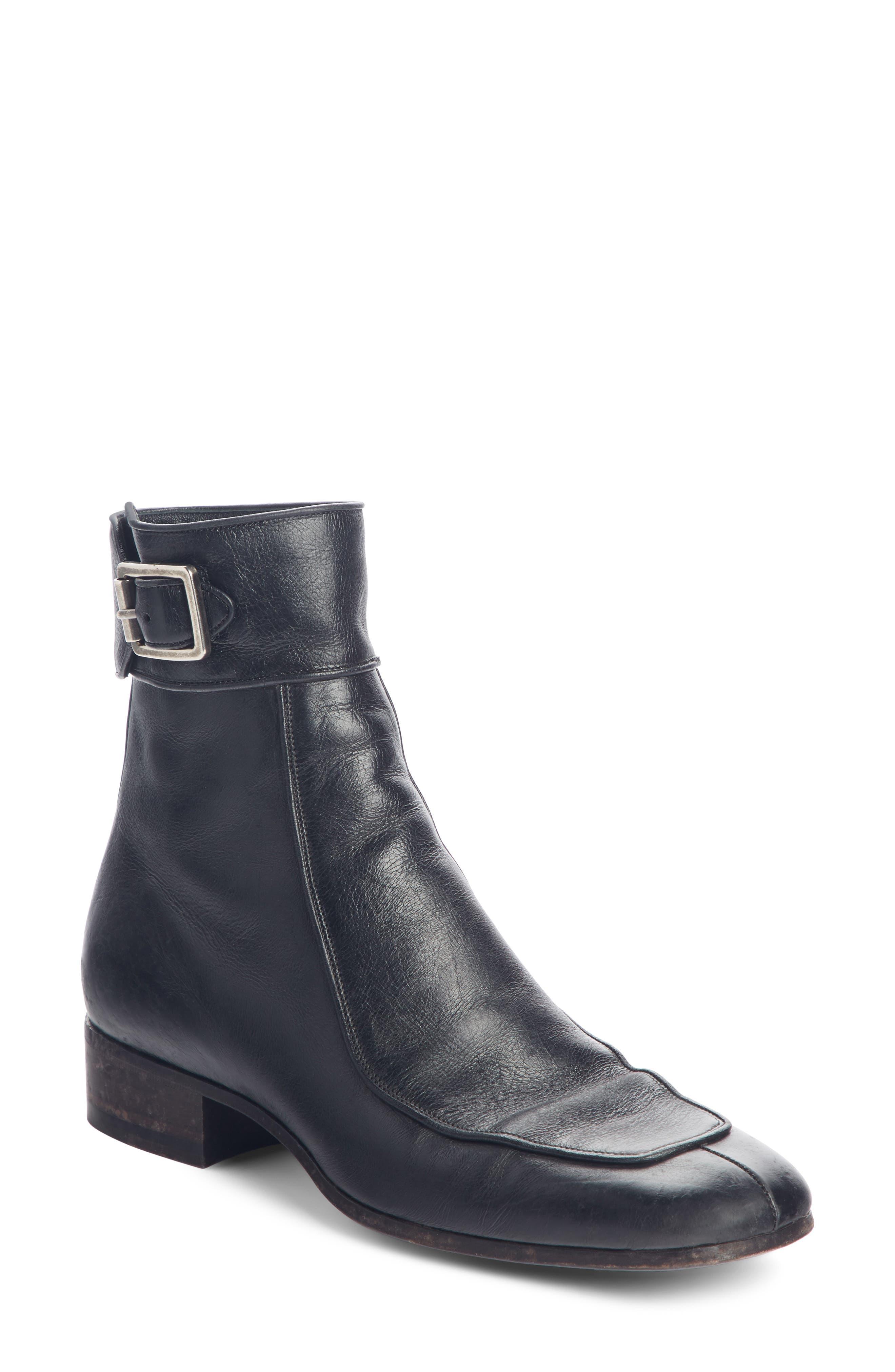 Saint Laurent Miles Buckle Cuff Boot - Black