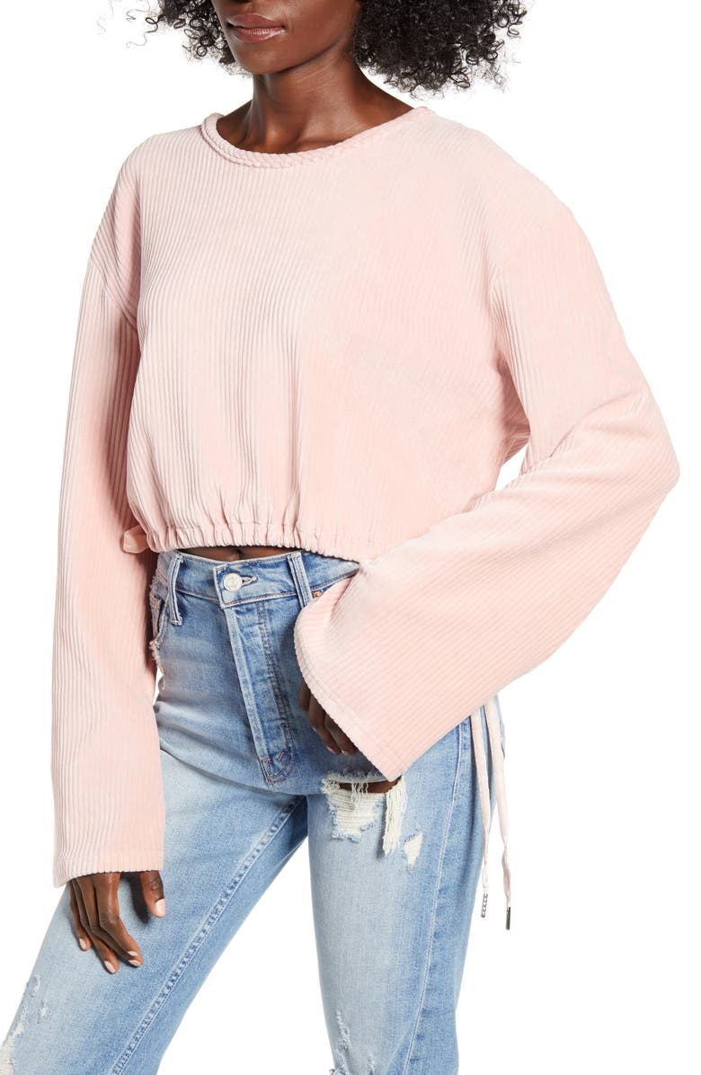 TIGER MIST Bell Sleeve Crop Corduroy Top, Main, color, BLUSH