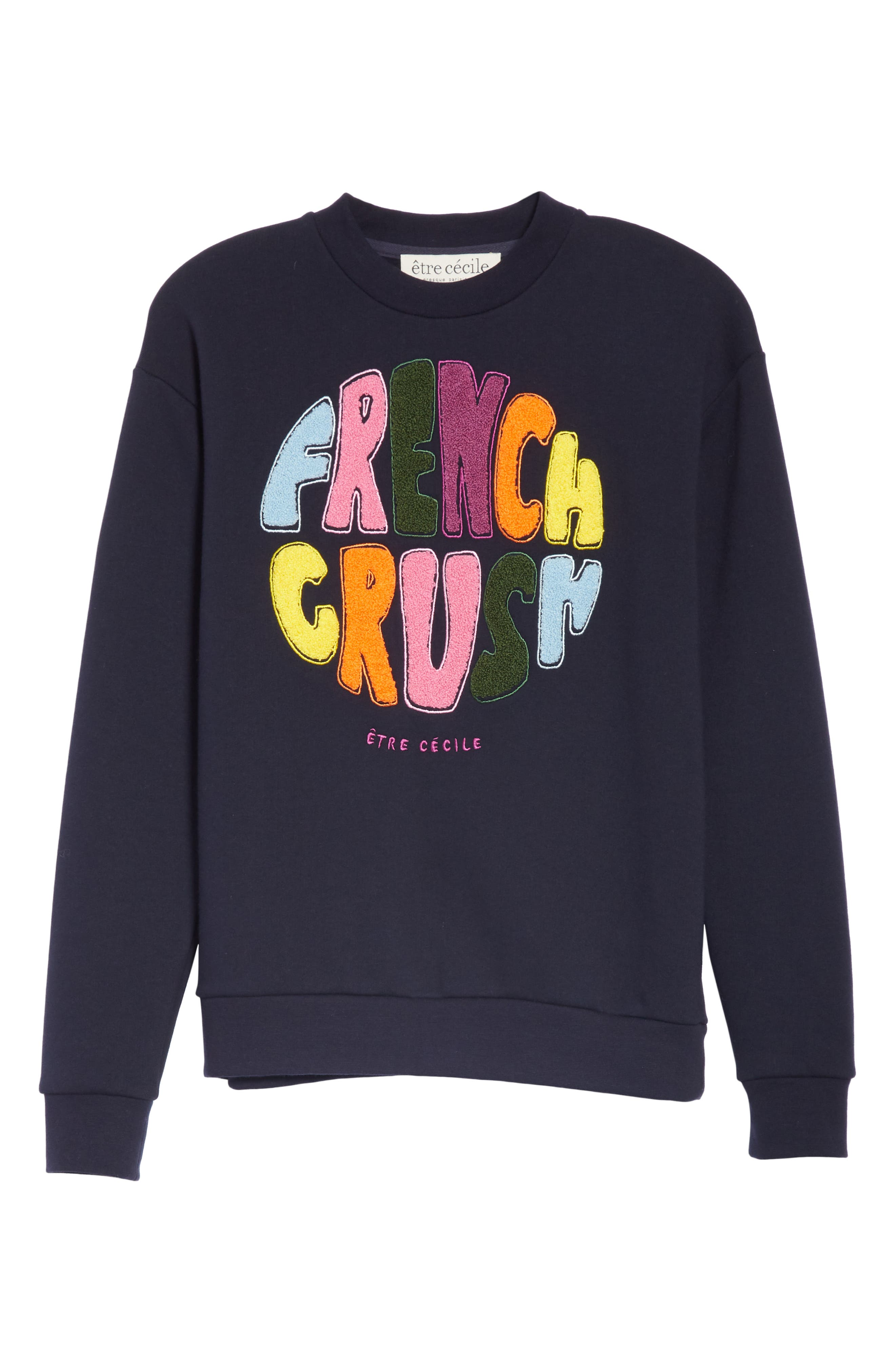 ,                             French Crush Boyfriend Sweatshirt,                             Alternate thumbnail 6, color,                             DARK NAVY