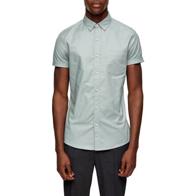 Topman Stripe Tape Short Sleeve Button-Down Shirt, Green