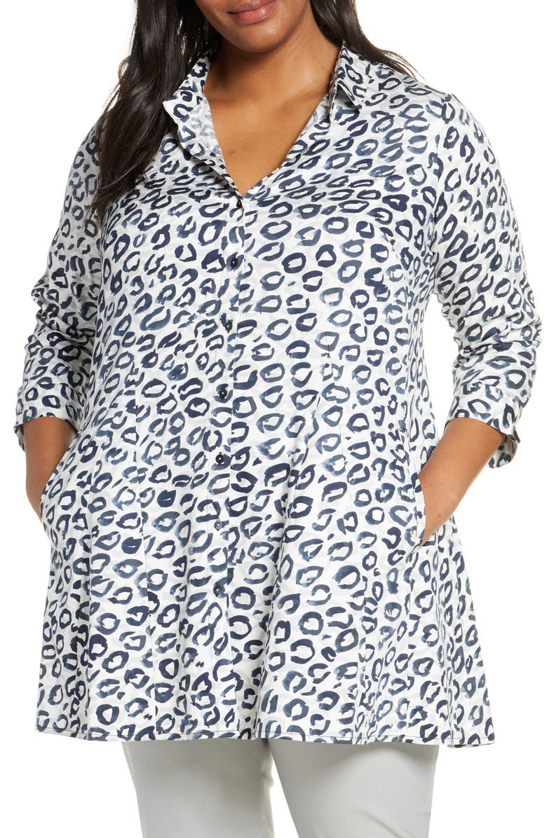 NIC+ZOE Leopard Kisses Shirt Jacket, Main, color, 100