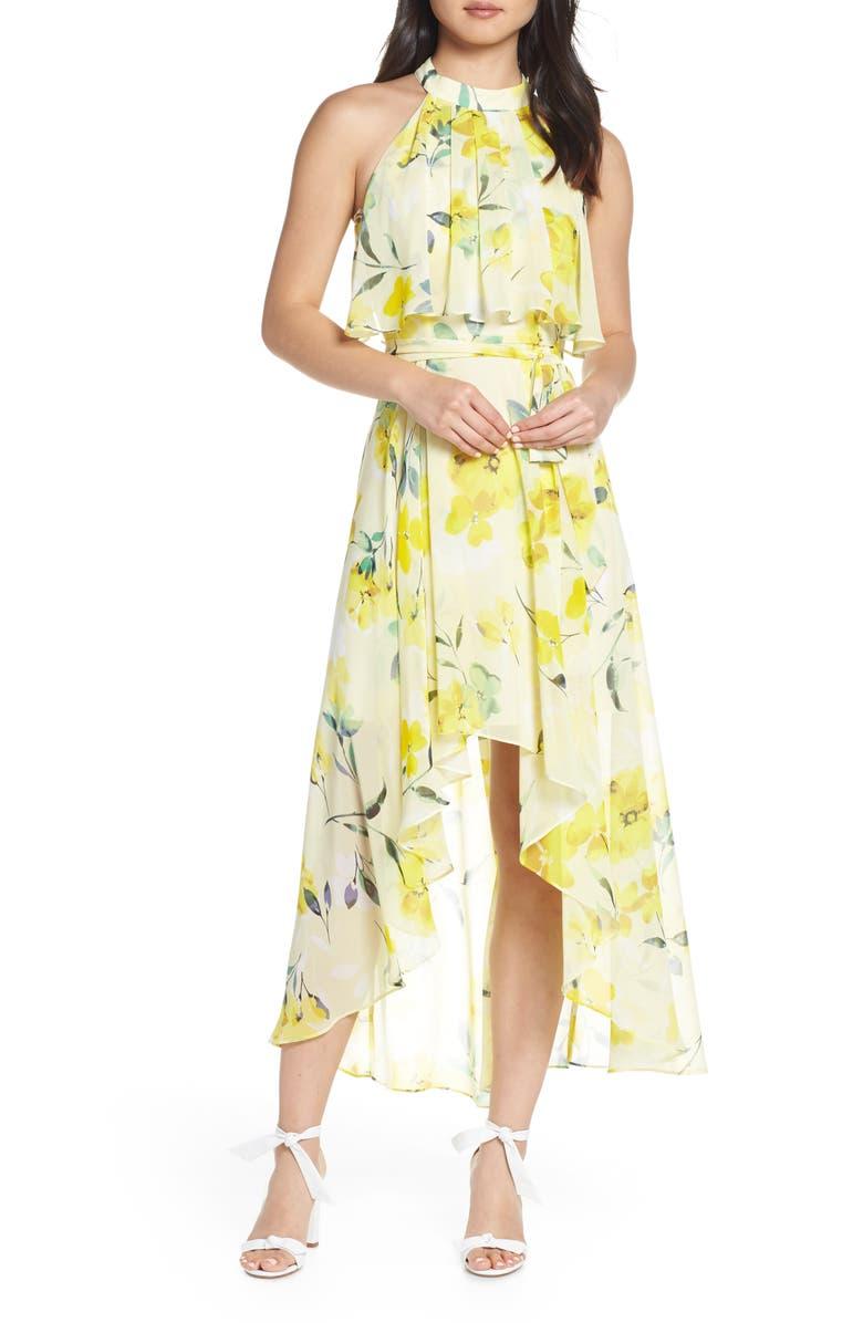 ELIZA J High/Low Halter Midi Dress, Main, color, YELLOW