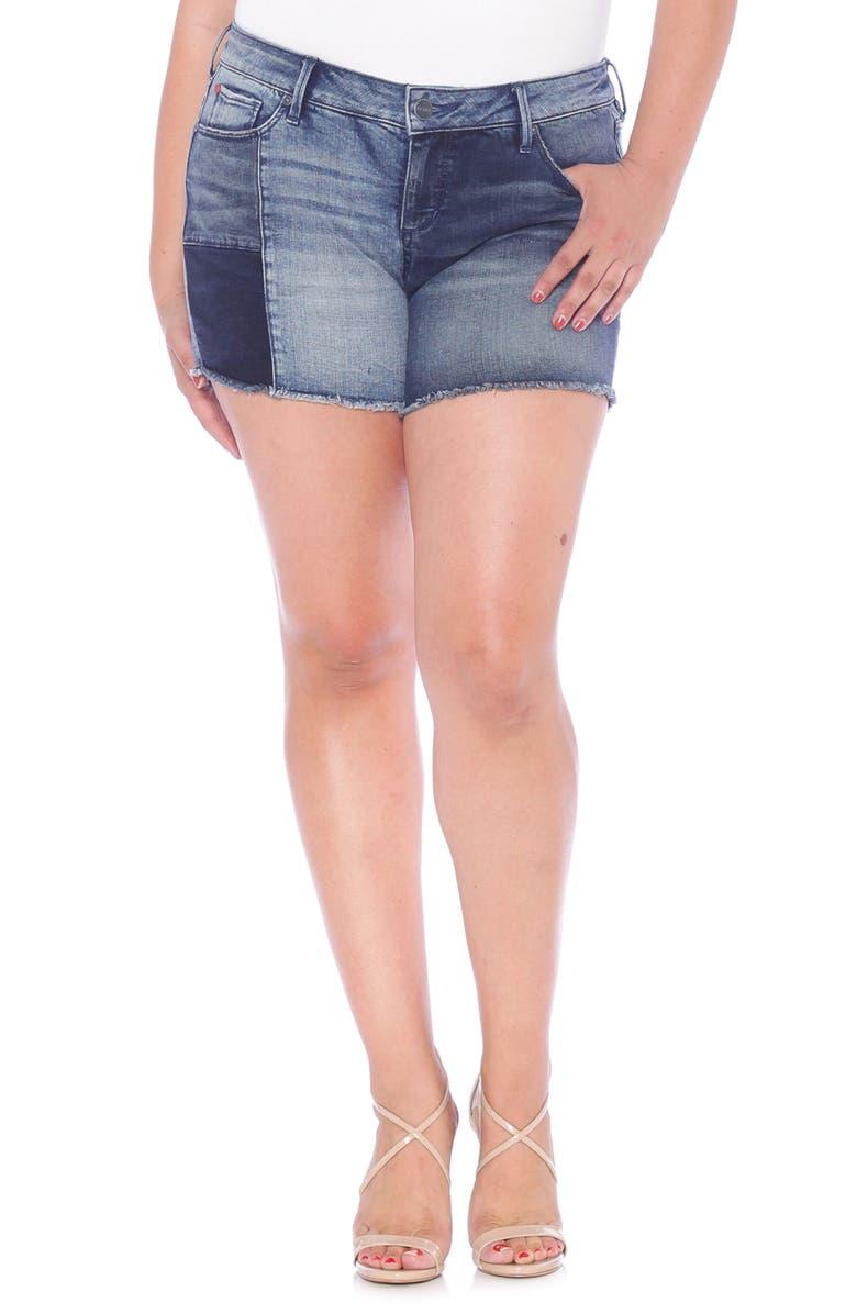 SLINK JEANS Patchwork Denim Shorts, Main, color, VANESSA