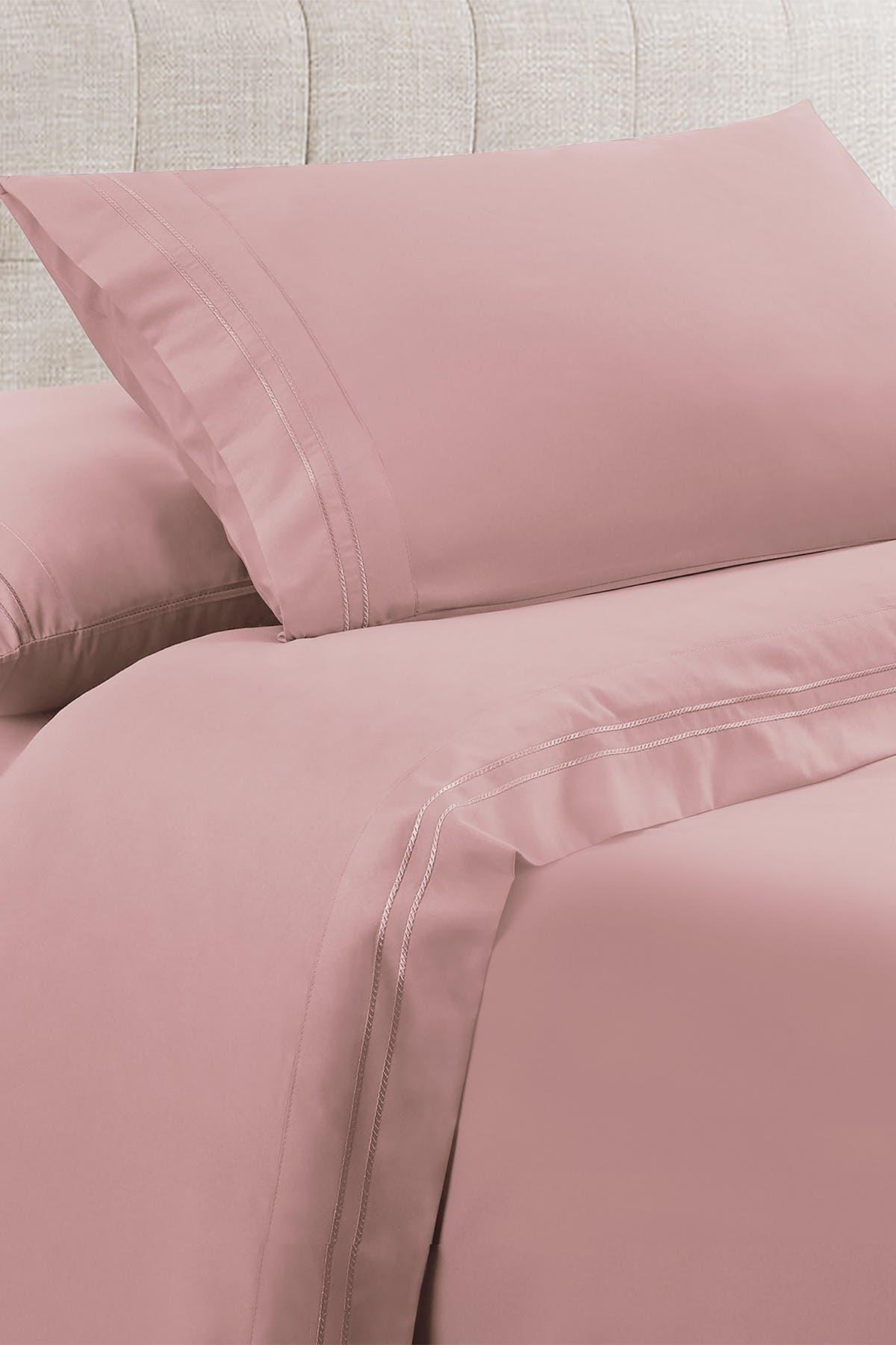 Image of Modern Threads Manor Ridge Luxury 100 GSM Brushed Microfiber Extra Soft Hypoallergenic 3-Piece Double Marrow Hem Sheet Set, Blush - Twin