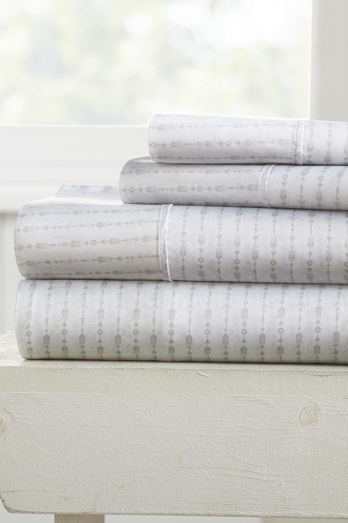 Image of IENJOY HOME Elegant Beaded Arrows Pattern 4-Piece Sheet Set - Light Gray - Full