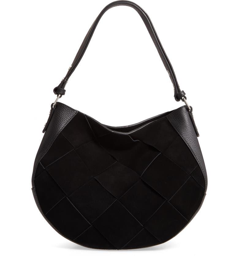 TREASURE & BOND Harley Leather Hobo Bag, Main, color, BLACK
