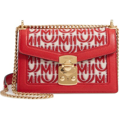 Miu Miu Jacquard Logo Shoulder Bag - Red
