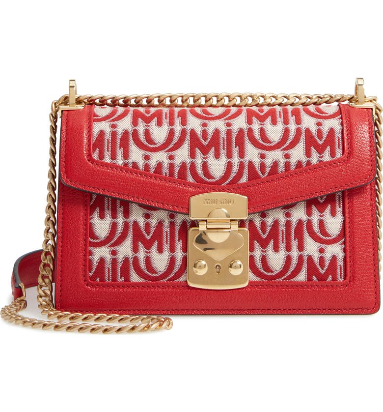 MIU MIU Jacquard Logo Shoulder Bag, Main, color, ROSSO/ CORDA
