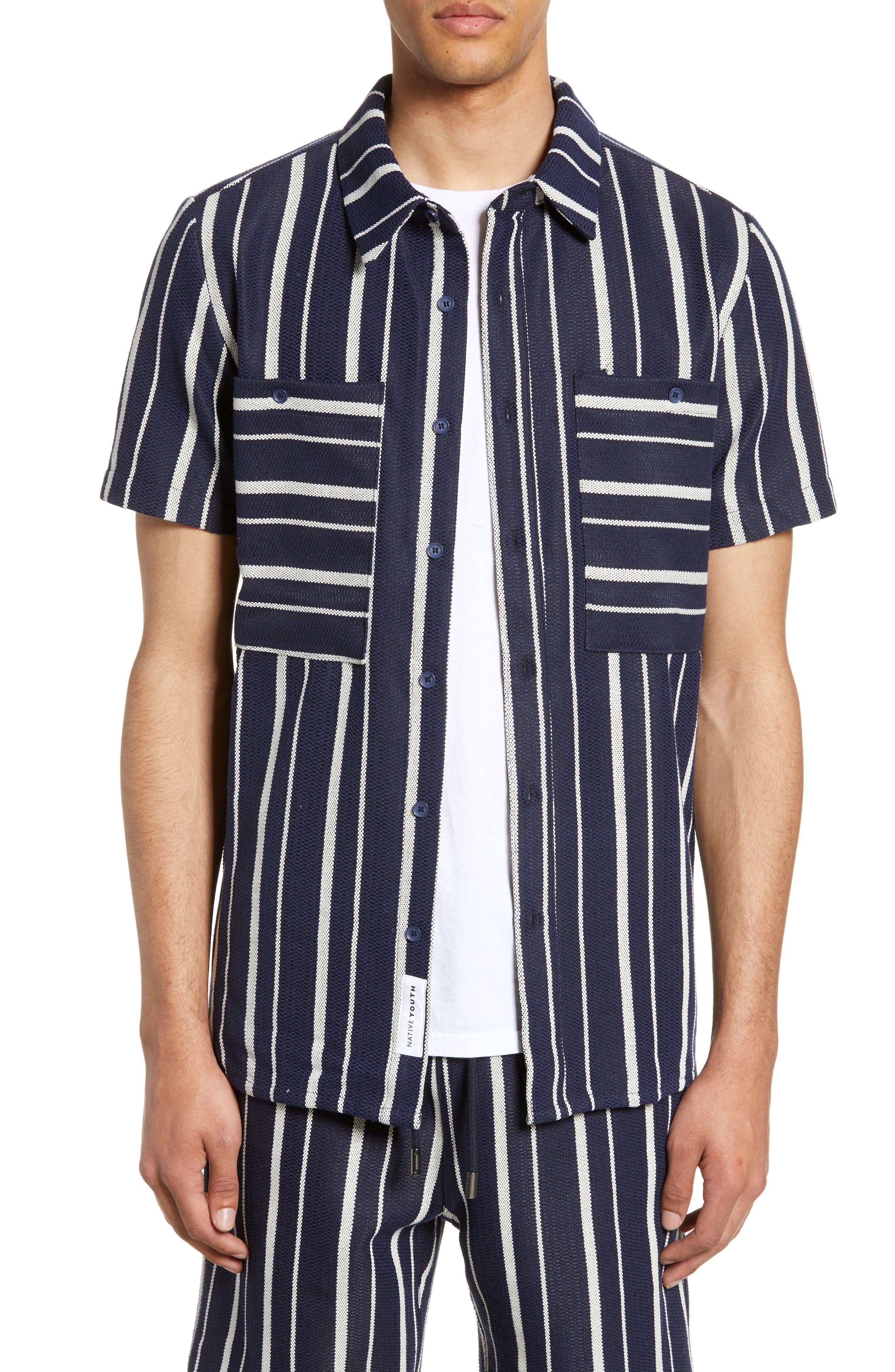 Vintage Men's Swimsuits – 1930s to 1970s History Mens Native Youth Glover Stripe Leisure Shirt $96.00 AT vintagedancer.com