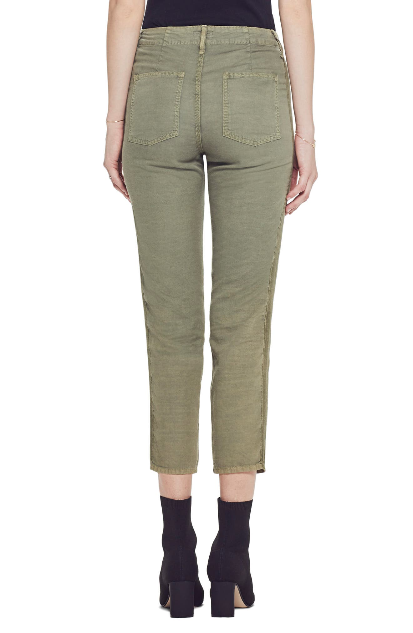 ,                             The Shaker High Waist Raw Crop Pants,                             Alternate thumbnail 2, color,                             ARMY GREEN