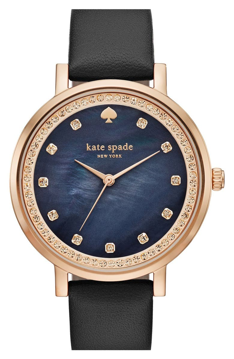 KATE SPADE NEW YORK 'monterey' leather strap watch, 35mm, Main, color, 001