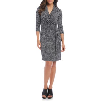 Karen Kane Cascade Faux Wrap Dress, Black