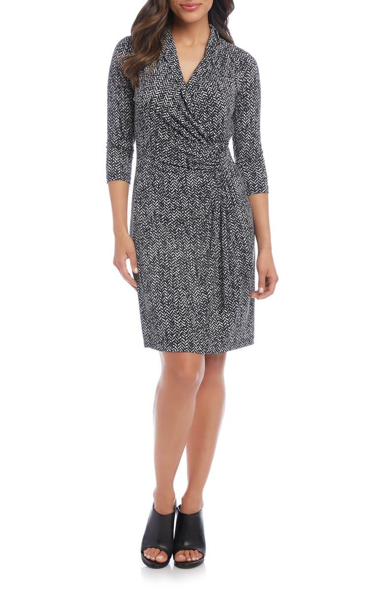 KAREN KANE Cascade Faux Wrap Dress, Main, color, PRINT