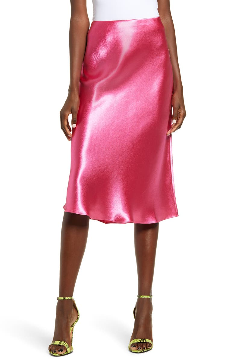 LEITH Bias Cut Satin Skirt, Main, color, 651