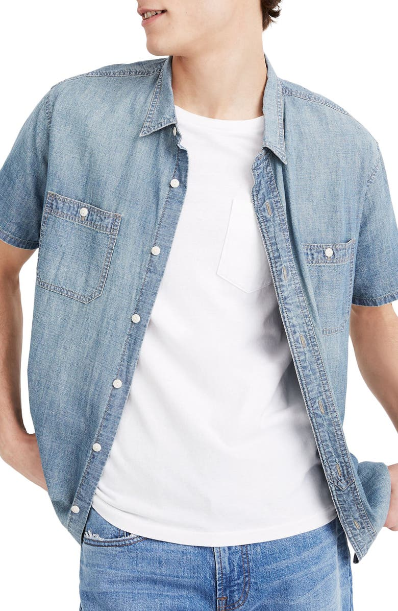MADEWELL Perfect Short Sleeve Chambray Button-Up Shirt, Main, color, 400