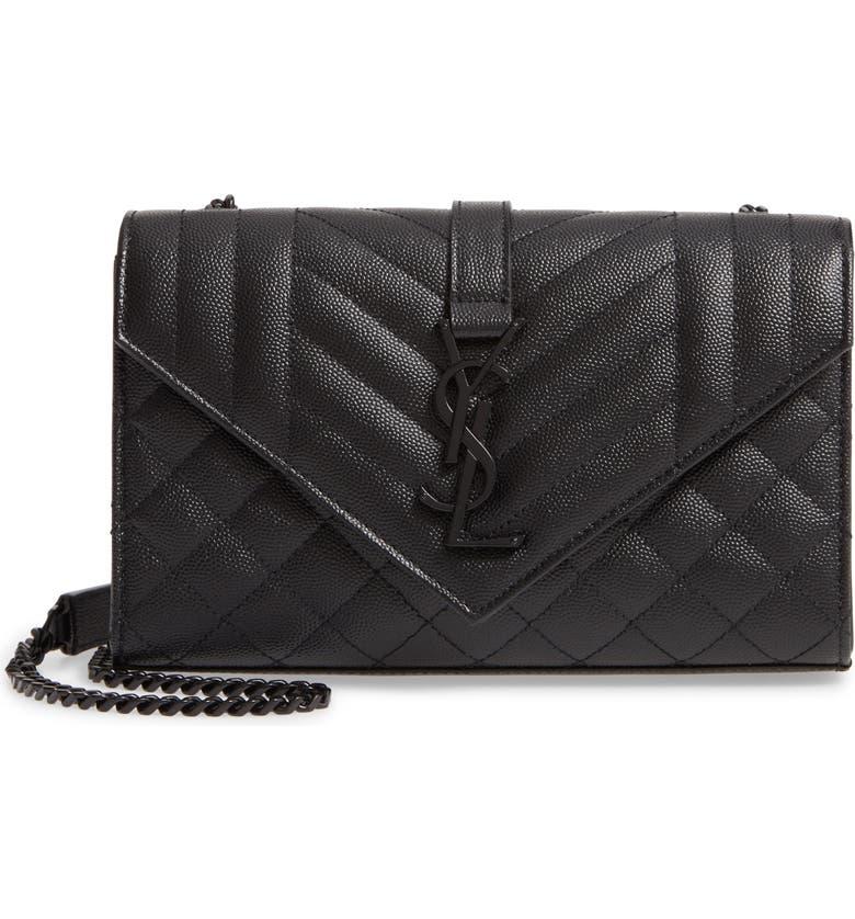 SAINT LAURENT Small Monogram Quilted Leather Shoulder Bag, Main, color, 001