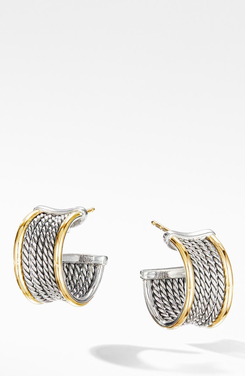 DAVID YURMAN Origami Cable Huggie Hoops with 18K Yellow Gold, Main, color, SILVER/ YELLOW GOLD