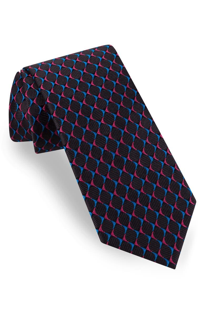 TED BAKER LONDON Circle Grid Silk Tie, Main, color, BLACK