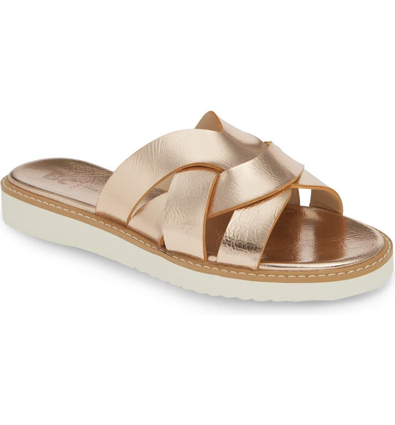 BC FOOTWEAR Therapeutic Vegan Slide Sandal, Main, color, ROSE GOLD METALLIC