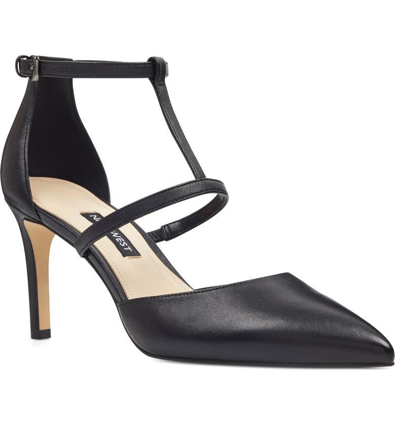 NINE WEST Cintia Ankle Strap Pump, Main, color, BLACK LEATHER