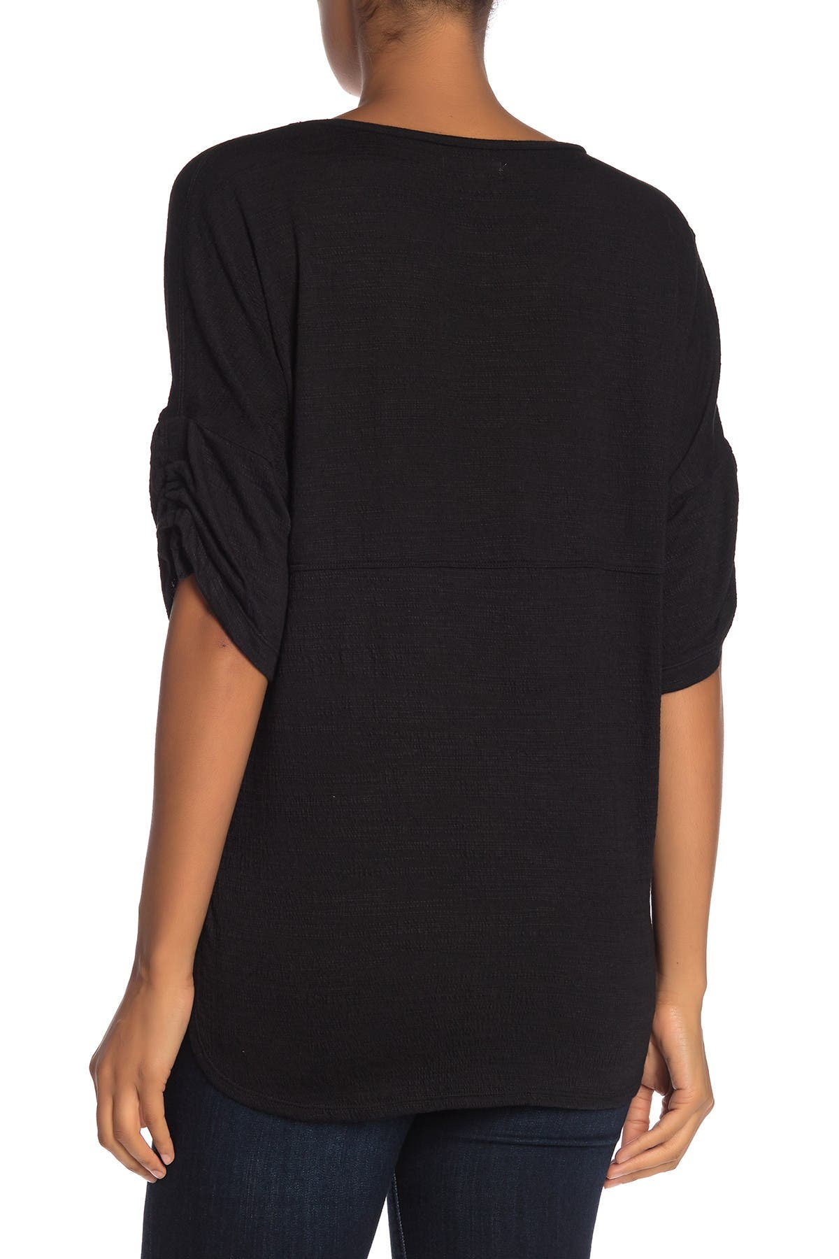 Image of Max Studio Ruched Sleeve Crew Neck T-Shirt