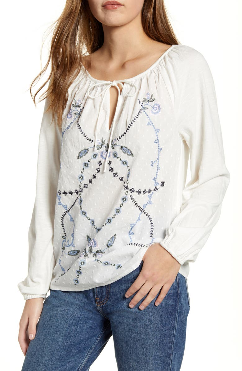 LUCKY BRAND Embroidered Clip Dot Peasant Top, Main, color, CREAM MULTI
