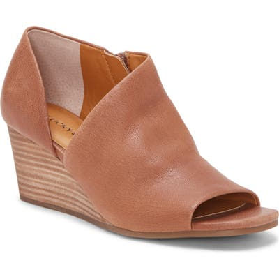 Lucky Brand Tylera Open Toe Wedge Bootie- Brown
