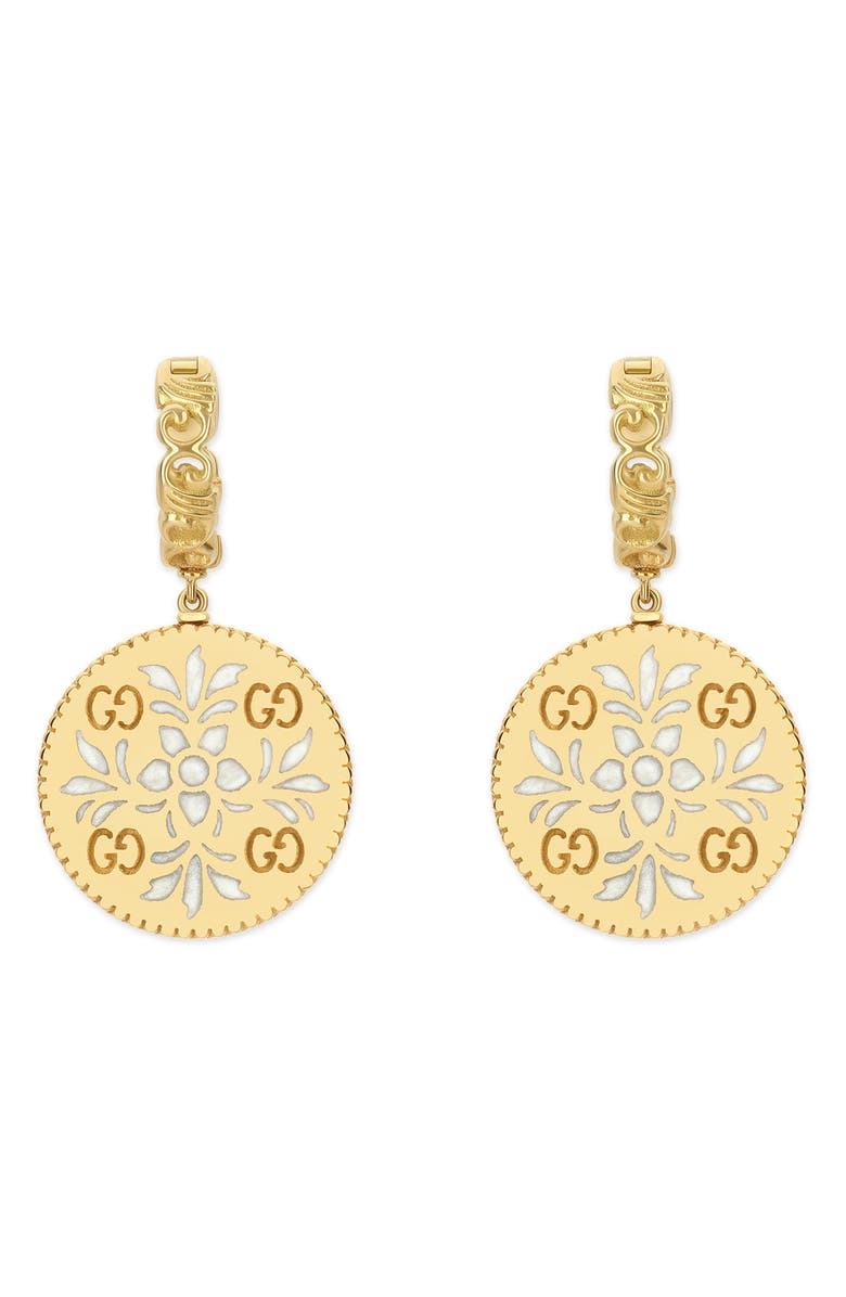 GUCCI Icon Blooms Drop Earrings, Main, color, YELLOW GOLD