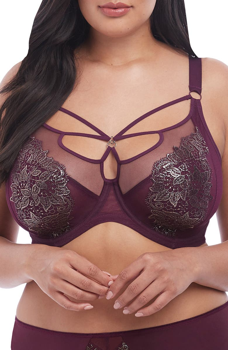 ELOMI Eugenie Underwire Plunge Bra, Main, color, GILDED BERRY