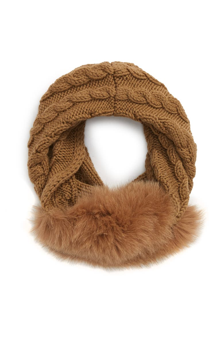 MAX MARA Fragore Cable Knit Wool Scarf with Genuine Fox Fur, Main, color, CAMEL