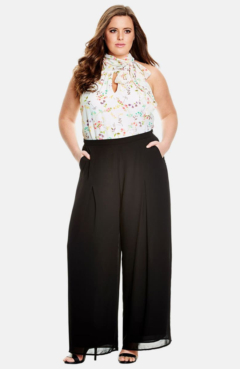 CITY CHIC Sheer Georgette Palazzo Pants, Main, color, 001