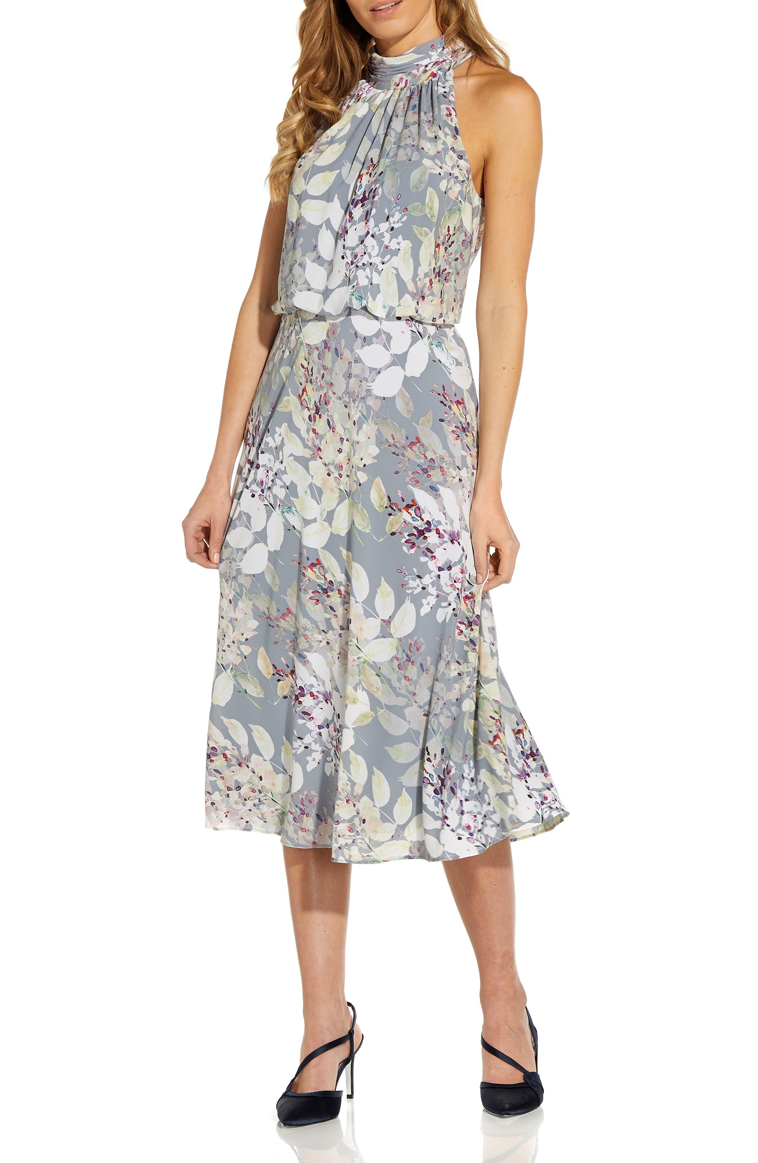 Watercolor Floral Halter Neck Chiffon Midi Dress
